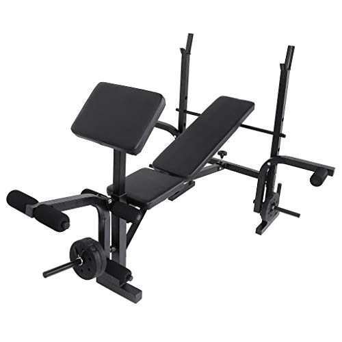 666 【US Spot】 Sit Up Bench with Power Rack - Adjustable Weight Lift Bench Rack Set Fitness Barbell Dumbbell Workout,Olympic Weight Bench,Strength Lifting Training Bench for Full-Body Workout (Black)