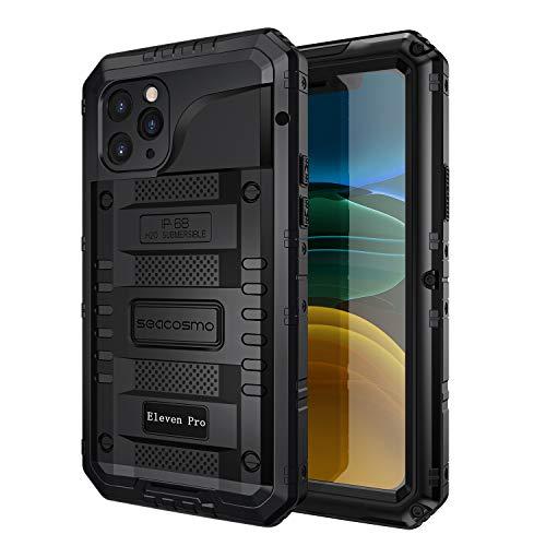 seacosmo Cover iPhone 11 PRO, [Waterproof] Custodia Impermeabile Corpo Completo con Protezione Incorporata dello Schermo per iPhone 11 PRO, Nero