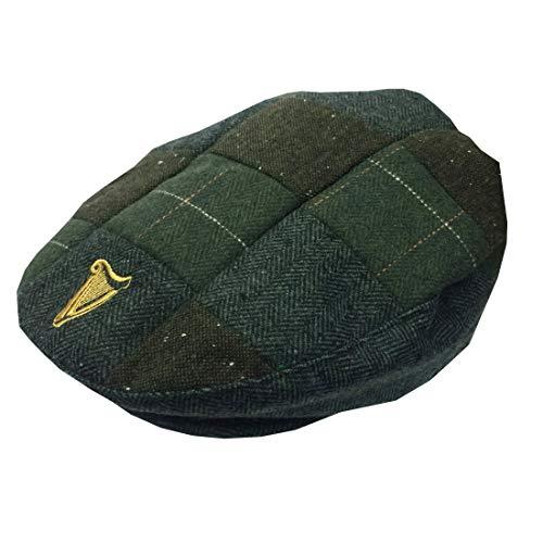 Guinness Herren Tweed Flache Mütze Patchwork Grün Gr. 56, grün
