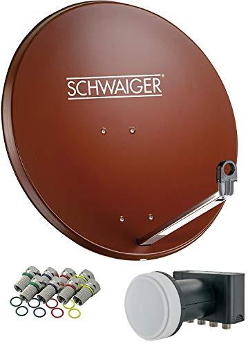 SCHWAIGER -555- Sat Anlage, Satellitenschüssel mit Quad LNB (digital) & 8 F-Steckern 7 mm, Sat Antenne aus Aluminium, Ziegelrot, 74,5 x 84,5 cm