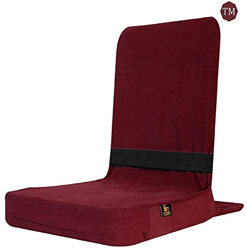 FOM (Friends of Meditation) Back Jack Meditation Chair and Meditation Cushion with Back Rest - Portable Folding Meditation Floor Chair and Yoga Props Cushions and Chair(Maroon)