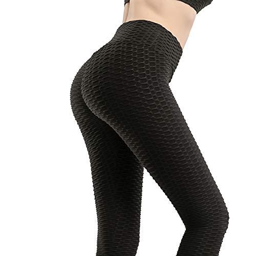 Bias&Belief Leggings Push Up High Waisted Leggings Mujer Fitness Leggings Push Up Elásticos Legging Deporte Arrugado Gym Leggings,Negro,XS