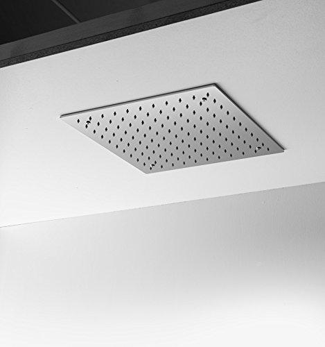 ARES - Alcachofa de ducha inoxidable de techo empotrable, cuadrada, 40 cm