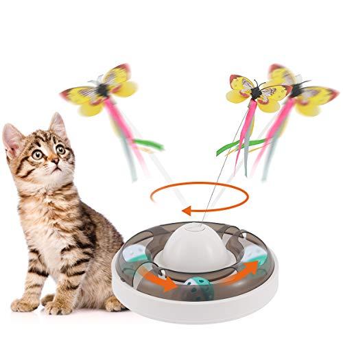 Aceshop Katzenspielzeug Interaktiver Katzenspielzeug mit 360 ° Elektrischem Rotierendem Schmetterling und GlockenBälle Teaser Spielzeug Interaktives Spielzeug für Katzen