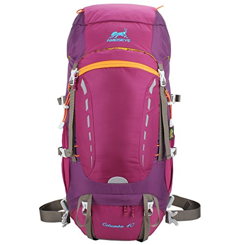 Eshow Unisex Nylon Lightweight Waterproof Backpack Rucksack Outdoor Sports Hiking Daypack Travel Backpack Camping Bag 30L, Rose