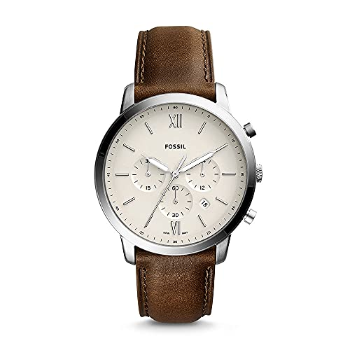 Fossil Men's Neutra Chrono Quartz Stainless Steel and Leather Chronograph Watch, Color: Silver, Brown (Model: FS5380)