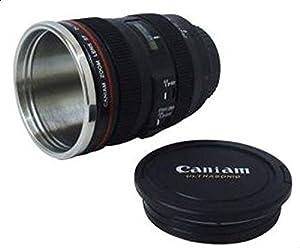 كوب عازل للحرارة 24-105 ملم بتصميم عدسة كاميرا كانون بلون اسود ستانلس ستيل