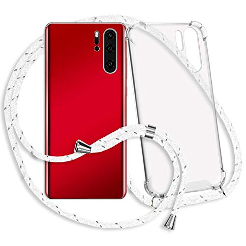 mtb more energy® Collar Smartphone para Xiaomi Mi MAX 3 (6.9'') - Blanco Gris Rayado - Funda Protectora ponible - Carcasa Anti Shock con Cuerda