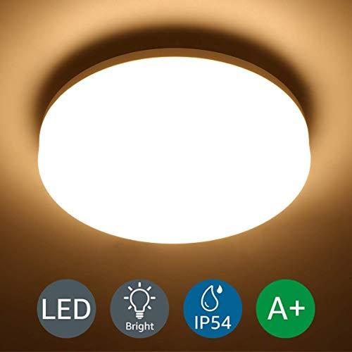 LOUX Wasserfest Deckenleuchte IP54 15W ersetzt 100W Glühbirne, LED Deckenlampe 3000K 1250lm 120 Abstrahlwinkel, Ideale Deckenbeleuchtung für Wohnzimmer, Küche, Balkon, Flur, Badezimmer usw.