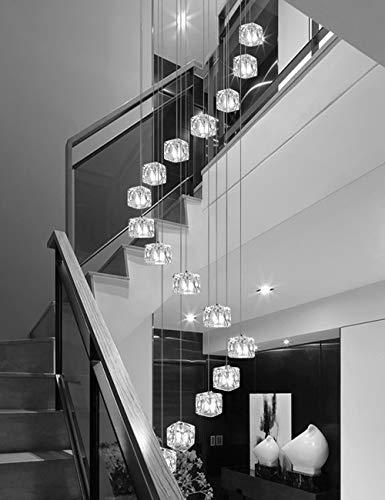 Múltiples luces Escalera de caracol Araña Bolas de vidrio Bar Restaurante Personalidad creativa Porche Luces de pasillo Moderno Colgante moderno Luz Araña larga