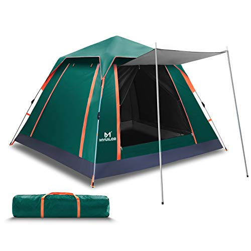 Myuilor Camping Tent 4 Person Tent Ultralight Easy Set Up and Carry Family Tent Heavy Duty Backpacking Tent Weather Resistant Tent for Camping, Hiking, Outdoor Festivals, Car Trip (Green)