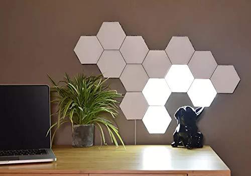Weiqiao® - Aplique hexagonal, inteligente, led, con adaptador lámpara de pared, iluminación táctil, luces sensibles, decoración para interior modular, bar, casa
