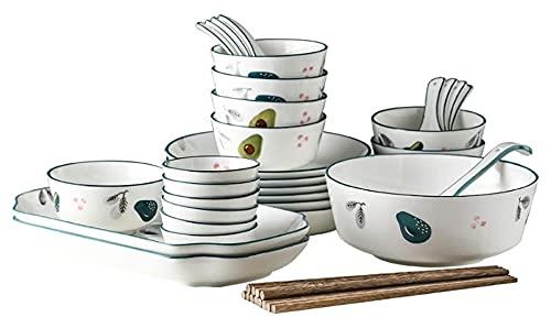 Conjunto de vajillas de cerámica de 32 Piezas, Conjunto de Platos, Sopa de vajilla Creativa y Placa Yuechuang