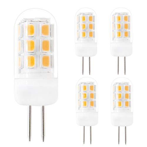 Dimmable G4 LED Bulbs, G4 Bi-Pin Base Light Bulbs, 120V G4 3.5W Warm White 3000k 320Lumen,Equivalent to 35W G4 Halogen, for Under-Cabinet Lights, Ceiling Lights, Table Lights, Puck Lights (Pack of 5)
