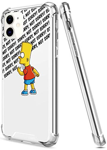 Crystal Clear iPhone 11 Case with 4 Corners Shockproof Protection,Cute Cartoon Design Soft TPU Bumper and Anti-Scratch PC Back Protective Cover Cases for Men and Women (Simpsons-not-Sorry-Bart)