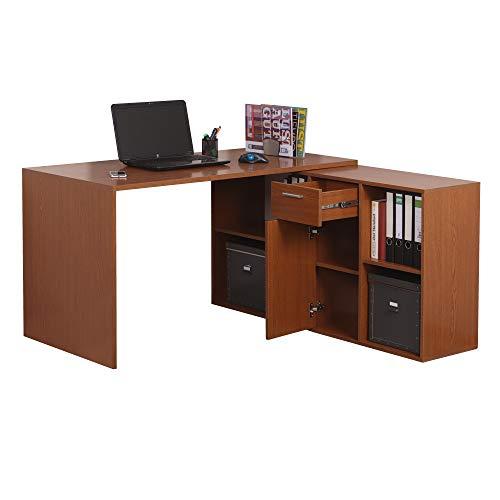 RICOO WM081-ER Schreibtisch Holz Eiche Rustikal Winkelkombination Arbeitstisch Bürotisch Computertisch Eckschreibtisch Akten Schrank Lowboard
