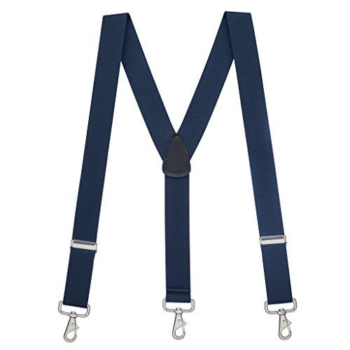 SuspenderStore Men's 1.5 Inch Wide Trigger Snap Suspenders - NAVY