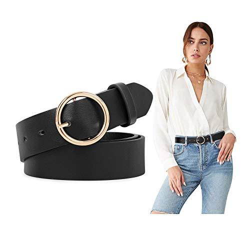 Women Leather Belts Black Belt Women PU Leather Waist Belt with O-Ring Buckle Women Vintage Retro Belts for Jeans Dress Pants,black,30-34