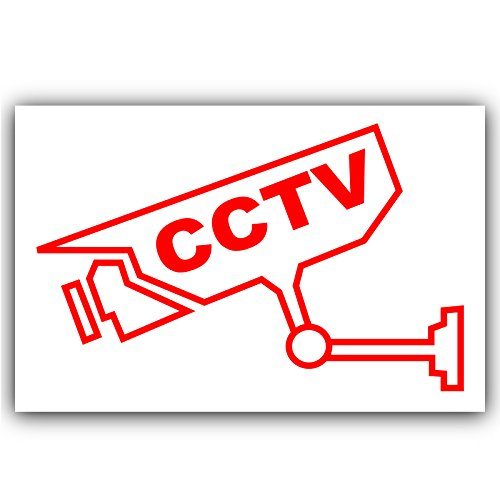 6 x CCTV - Video Recording Camera Security Warning Sticker-Self Adhesive Vinyl Sign-Red on White