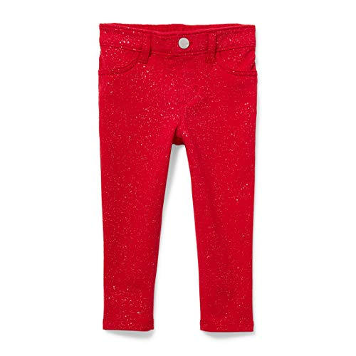 The Children's Place Baby Girls Glitter Jeggings, Ruby, 3T