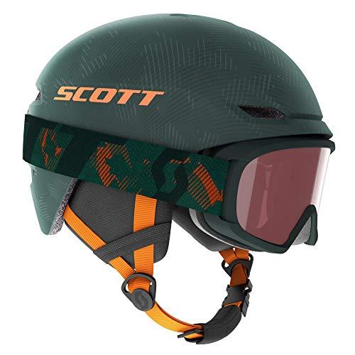 Scott Junior Keeper 2 Helmet + Witty Goggle Combo Grün, Skibrille, Größe M - Farbe Sombre Green - Pumpkin Orange