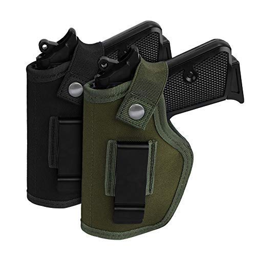 iYIKON 2 Pack Gun Holsters for Concealed Carry, Universal Inside Outside Waistband Holster for Pistols, IWB Belt Holster for Right & Left Hand, Fits Subcompact Compact Full Size Pistols, Black & Green