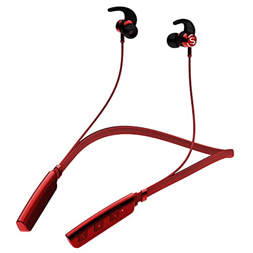 SNAIR Tunex 235V2 Wireless Headset with ASAP Charge Technology, Immersive Audio, Up to 8H Playback, Bluetooth V5.0, Call Vibration Alert, Magnetic Eartips and IPX5 Water & Sweat Resistance (Red)