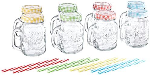 Relaxdays Bicchieri con Cannuccia Set da 8, con Manico, con Coperchio, Colorati, Standard, 8 unità