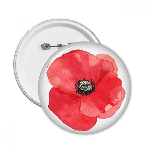 DIYthinker Pintura roja de la flor de la acuarela amapola de maíz pernos redondos insignia del botón de ropa Decoración 5Pcs regalo XXL Multicolor
