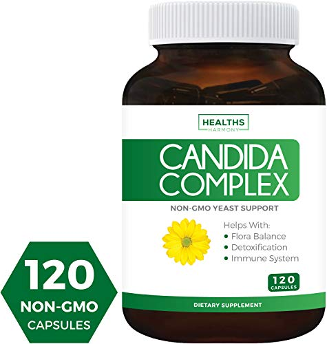 Candida Complex (Non-GMO) 120 Capsules - Extra Strength - Powerful Yeast & Intestinal Flora Support with...
