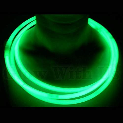 """Glow Sticks Bulk Wholesale Necklaces, 100 22"""" Green Glow Stick Necklaces. Bright Color, Glow 8-12 Hrs, Connector Pre-Attached, Sturdy Packaging, GlowWithUs Brand"""