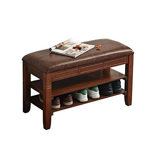 TONGSH Zapatero Banco Bastidores de zapatos de madera de almacenamiento Corredor heces Muebles de entrada con el amortiguador de gran capacidad de almacenamiento de cuero de la PU puede almacenar 6-10