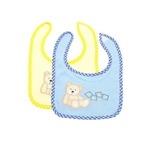 my STITCHERY® Baby Lätzchen mit Teddy Bärchen und Klettverschluss im 2er Set blau & gelb ab einem Monat, perfektes Geschenk, Kleinkinder 29cm x 19cm Öko-TEX®