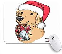 NIESIKKLAマウスパッド 鐘犬レトリーバー動物野生動物休日メリーイヌキャラクタークリスマス ゲーミング オフィス最適 高級感 おしゃれ 防水 耐久性が良い 滑り止めゴム底 ゲーミングなど適用 用ノートブックコンピュータマウスマット