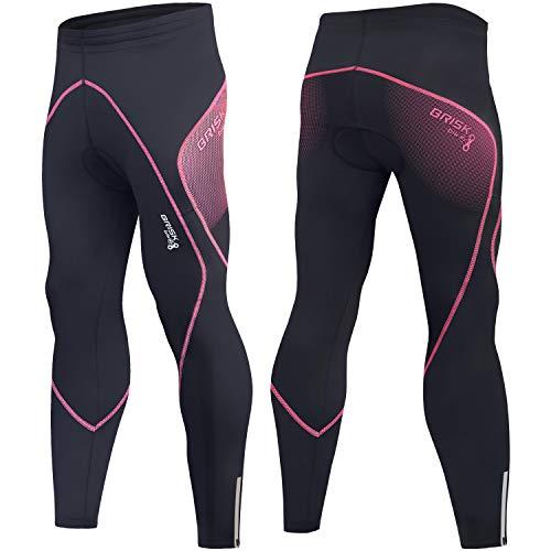 Brisk Bike Radhose, gepolsterte Winter-Thermohose für Damen, Fahrradhose, Leggings, Radlerhose, Damen, Schwarz/Rosa 3, L