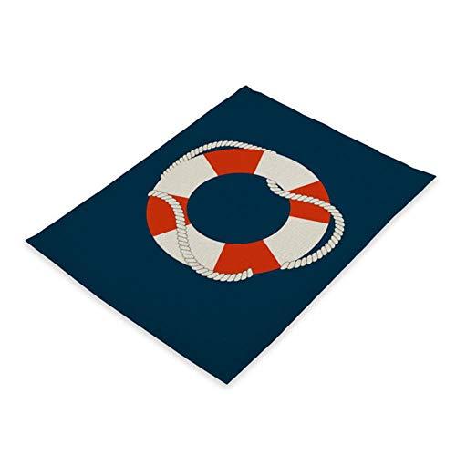 KKDIY 2/4/6 Piezas náutica Ancla decoración patrón Mantel de Cocina mar océano Mesa de Comedor Estera té 42 * 32 cm Posavasos de Lino cojín Cuenco Taza esteras-CD31-5,4 Piezas, 42x32cm