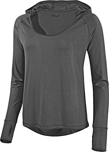 Golden Lutz - Damen Yoga-Shirt mit Kapuze, Langarm (anthrazit, S - 36/38)   CRIVIT