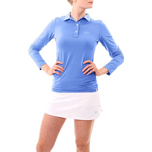 Sportkind Mädchen & Damen Tennis, Golf, Segeln, Funktions Poloshirt Langarm, UV-Schutz UPF 50+, atmungsaktiv, Kornblumen blau, Gr. S