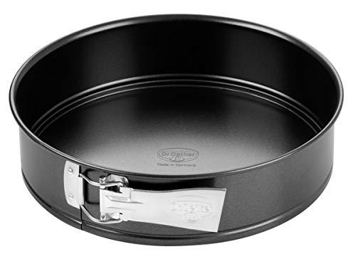 Dr. Oetker Springform Ø 26 cm, Kuchenform mit Flachboden, runde Backform aus Stahl mit Antihaftbeschichtung (Farbe: schwarz), Menge: 1 Stück
