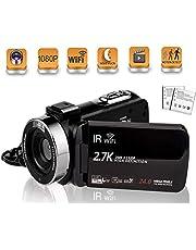 ビデオカメラ デジタルカメラ 2.7K HDR 24MP HD1080P WIFI機能 16倍デジタルズーム IR夜視機能 SDカード(最大128GB) サポート128GBカード対応 予備バッテリーあり 3.0インチタッチモニター 日本語取扱説明書 (2400万画素)…