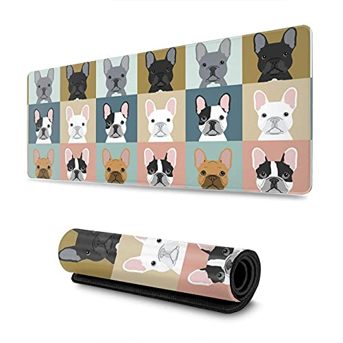 French Bulldog Puppies Extended Mouse Pad 11.8x31.5 Inch Large Gaming Mouse Pad Non-Slip Rubber Base Mousepad with Stitched Edges Suitable for Game Office and Home