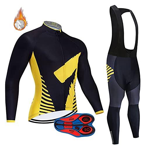 ZQD Completo Ciclismo Invernale da Uomo Abbigliamento da Bici da Strada MTB. Camicie, Pantaloni a Maniche Lunghe + Pantaloni da Bicicletta da Cuscino da 9d Gel (Colore : Yellow-C, Taglia : XL)