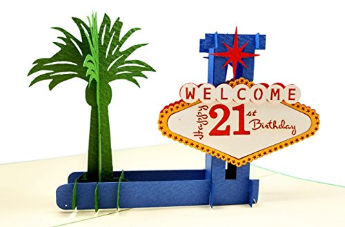 iGifts And Cards Happy 21st Birthday Las Vegas Style 3D Pop Up Greeting Card - Fun, Sin City, Strip, Celebration, Half-Fold, Birthday, Congratulations, Special Days, Special Occasion, Son, Daughter