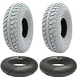 330x100 Grau Mobilitätshilfe Reifen und Schlauch, Pneumatische Reifen, 400-5 - Set von 2