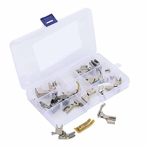 Juego de prensatelas profesional de 14 piezas, accesorios de máquina de coser con puntada de candado, reemplazo con tornillos