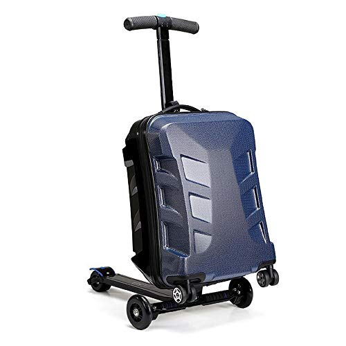 LIUJIE Suitcase pedal 21'Rolling Luggage Cart Folding Scooter Trolley Trolley, Kick Board, and Trolley Suitcase,Blue