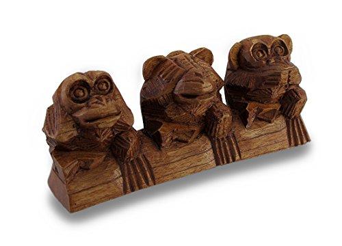 Sehen, hören, nicht sprechen Drei sitzend Affen handgeschnitzt Statue