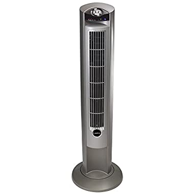 Lasko 2551 Wind Curve Tower Fan with Remote Control and Fresh Air Ionizer, Silver