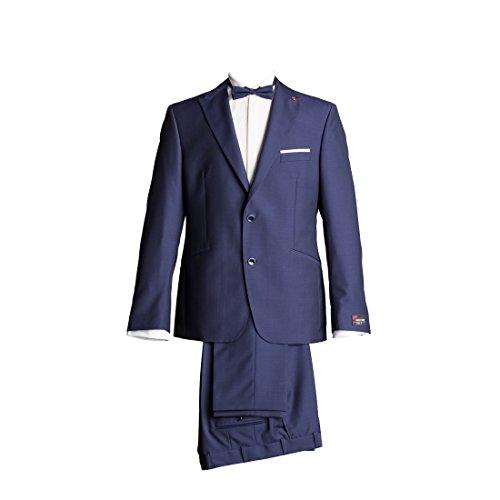 Atelier Torino Gala Anzug Business Sakko Evariso mit Seitenschlitzen Hose Caio ohne Bundfalte Marine Blau Uni Modern Fit 90% Schurwolle 10% Mohair 240g 90