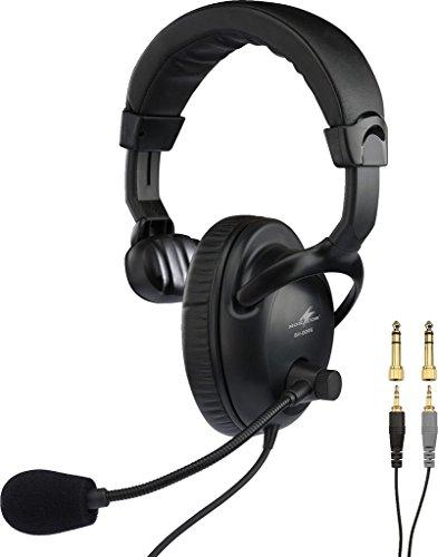 MONACOR BH-009S Professioneller Mono-Kopfhörer mit dynamischem Bügelmikrofon schwarz